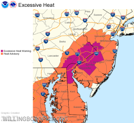 The areas effected by the Excessive Heat Warning